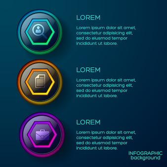 Business-infografik-vorlage mit farbenfrohen glänzenden web-schaltflächen und symbolen des textes