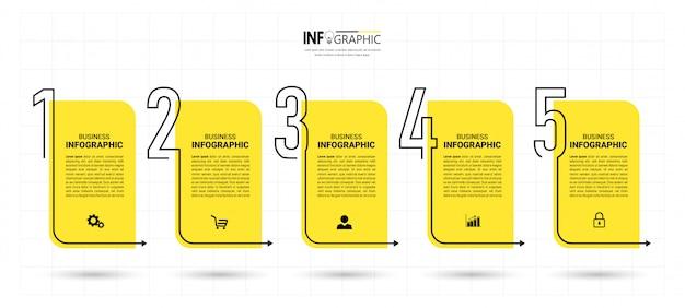 Business infografik vorlage mit fünf schritten