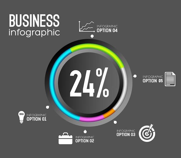Business-infografik-vorlage mit kreisförmigen bunten kanten-symbolen und prozentsatz