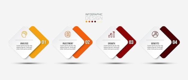 Business-infografik-vorlage mit schritt oder optionen