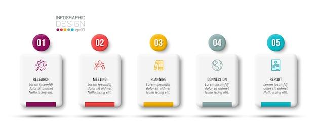 Business-infografik-vorlage mit schritt- oder optionsdesign