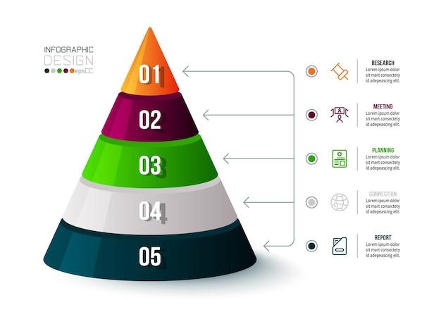 Business-infografik-vorlage mit schritt- oder optionsdesign.