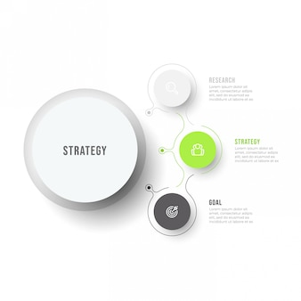 Business-infografik-vorlage. modernes prozessdiagrammdesign mit dünnen linienelementen und 3 optionen oder schritten.