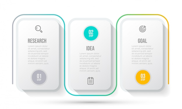 Business-infografik-vorlage. zeitleiste mit marketing-symbol und 3 optionen oder schritten.