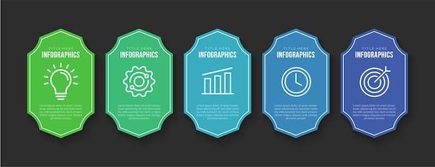 Business-infografik-vorlagendesign mit 5 optionen für farbenfrohe abzeichen-workflow-schritte
