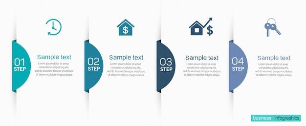 Business infografiken design-vorlage mit 4 optionen