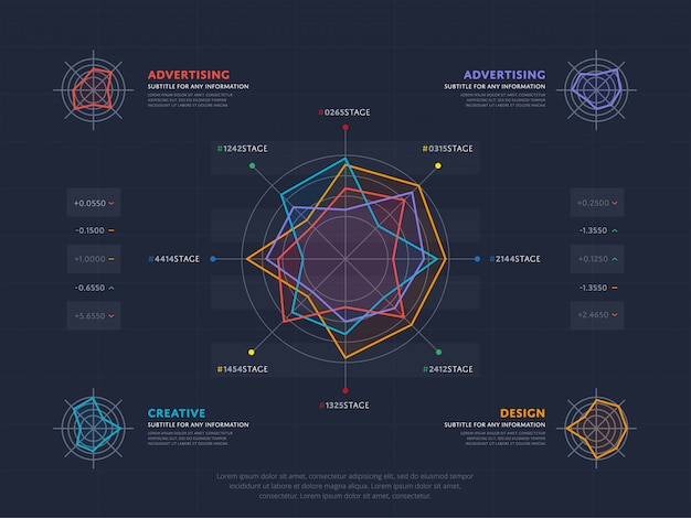 Business-infografiken-konzept mit vier index