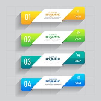 Business-infografiken mit vier schritten Premium Vektoren