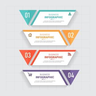 Business-infografiken mit vier schritten