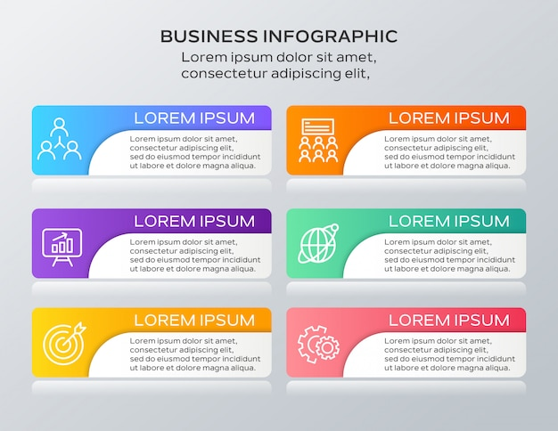 Business infografiken sechs schritte vorlage