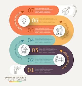 Business infografiken timeline vorlage hintergrund