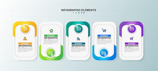 Business infografiken vorlage 5 schritte