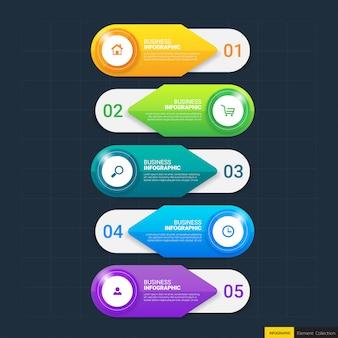 Business infografiken vorlage mit fünf schritten