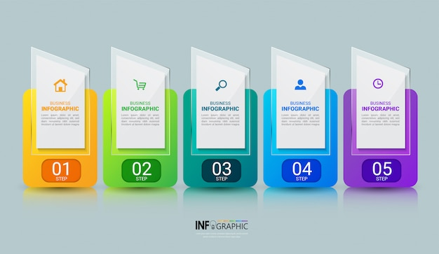 Business-infografiken-vorlage mit fünf schritten