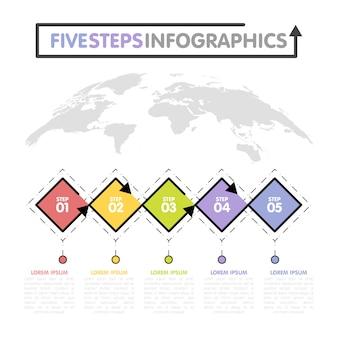 Business infografiken vorlage. timeline mit 5 rautenschritten, fünf zahlenoptionen. weltkarte im hintergrund. vektorelement
