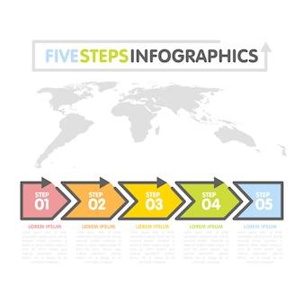 Business infografiken vorlage. zeitleiste mit 5 pfeilen, schritten, zahlenoptionen. weltkarte im hintergrund. vektorelement