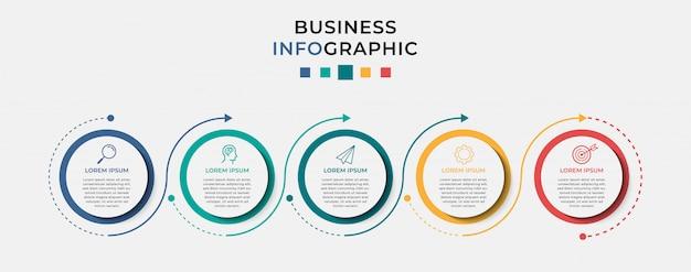 Business infographic design vorlage 5 optionen oder schritte.