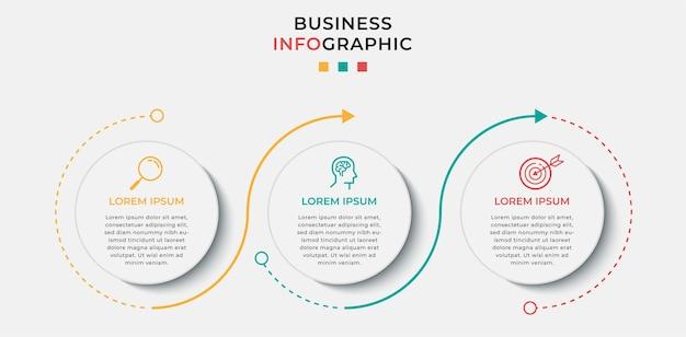 Business infographic designvorlage mit symbolen und 3 drei optionen oder schritten.