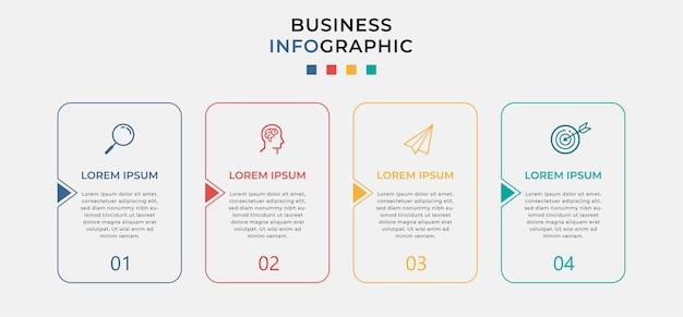 Business infographic designvorlage mit symbolen und 4 vier optionen oder schritten.