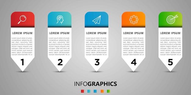 Business infographic designvorlage mit symbolen und 5 fünf optionen oder schritten.