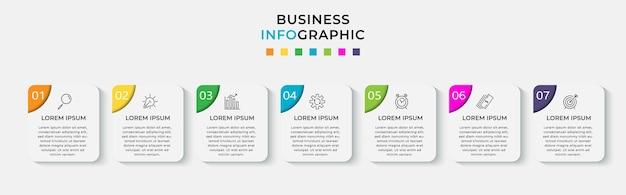 Business infographic designvorlage mit symbolen und 7 sieben optionen oder schritten.
