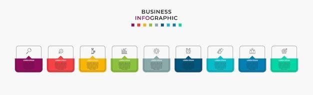 Business infographic designvorlage vektor mit symbolen und 9 neun optionen oder schritten Premium Vektoren