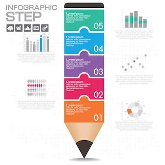 Business infographic schablonenplan mit illustration des kreativen bunten bleistifts.