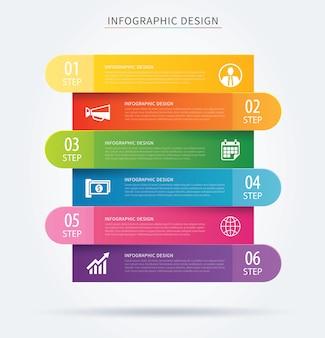 Business infographic tab fortschrittskonzept mit sechs schritten.