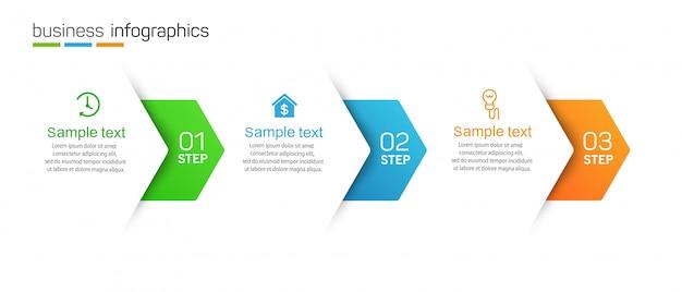 Business infographic vorlage 3 optionen oder schritte