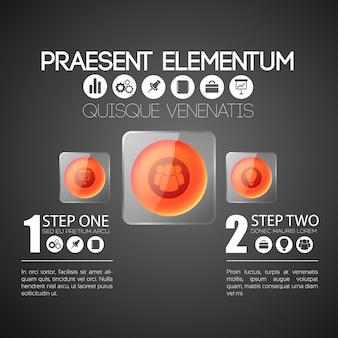 Business infographic vorlage mit zwei schritten