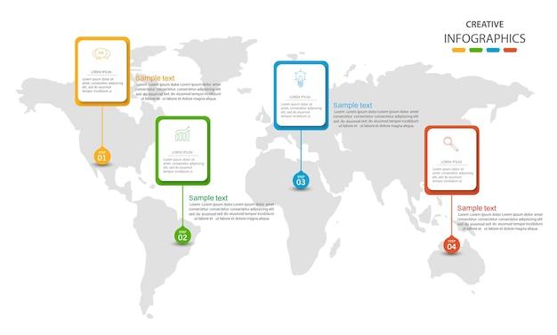 Business infographic world statistikvorlage für berichte und präsentationen