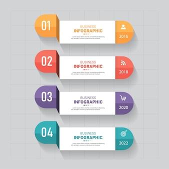 Business infographics vorlage mit 4 schritten