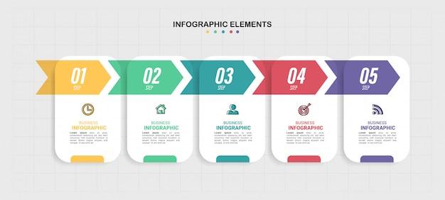 Business infographics vorlage mit 5 schritten