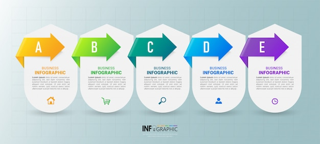 Business infographics-vorlage mit fünf schritten