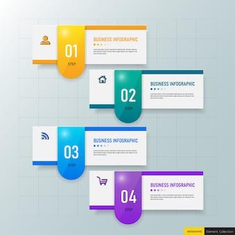 Business infographics-vorlage mit vier schritten