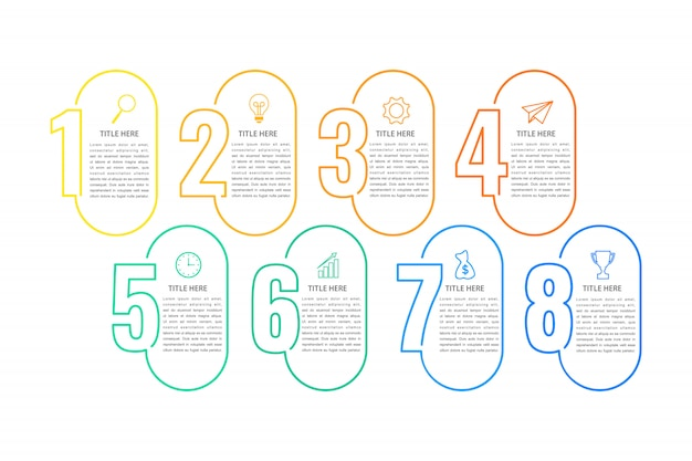 Business infographik vorlage, dünne linie design mit nr. 8 option oder schritt