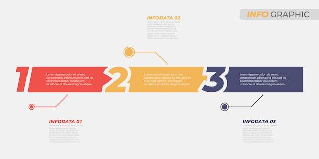 Business infographik vorlage. kreatives designlayout mit nummernoptionen und 3 schritten, prozesse. vektorelemente für informationsdiagramm, jahresbericht, präsentationen.