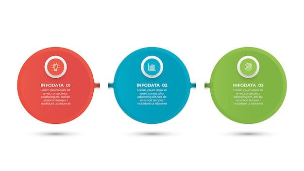 Business infographik vorlage mit 3 schritten