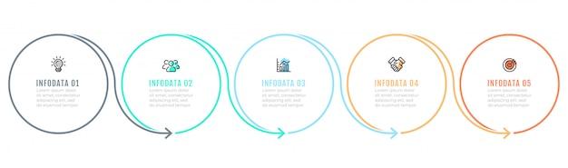 Business infographik vorlage mit 5 schritten