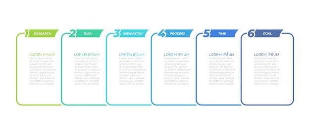 Business infographik vorlage mit 6 schritten