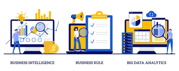 Business intelligence, geschäftsregel, big-data-analysekonzept mit kleinen leuten