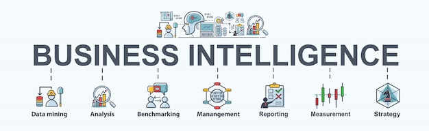 Business intelligence-schritte für business plan, data mining, analyse und strategie.