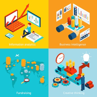 Business intelligence und informationsanalyse, fundraising und kreatives denken. bericht diagramm grafik web infografik daten statistik finanzen, vektor-illustration