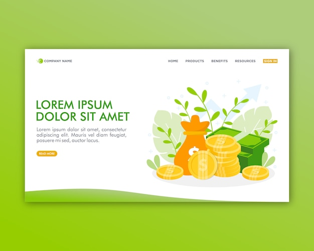Business investment landing page vorlage