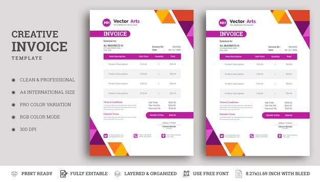 Business invoice template theme