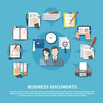 Business items flyer mit elementen von arbeitswerkzeugen und platz für textvektorillustration
