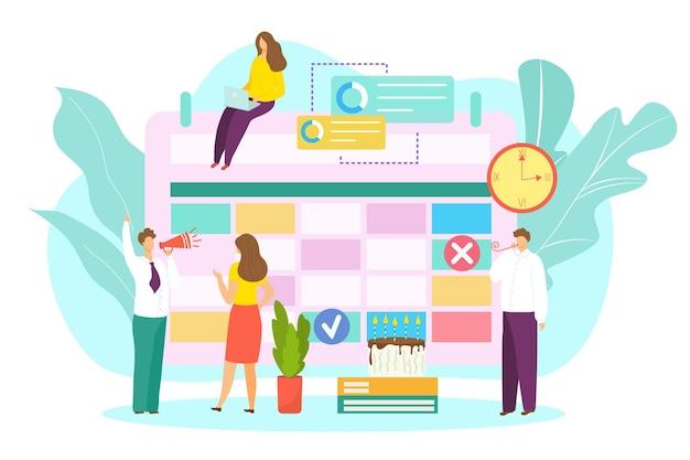Business-kalender-konzept-vektor-illustration-zeitplan mit veranstaltungsdatum flach mann frau leute ch...