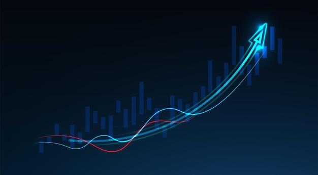 Business-kerze-stick-diagramm des börseninvestitionshandels auf blauem hintergrund. bullischer punkt, aufwärtstrend des diagramms. wirtschaftliches vektordesign. Premium Vektoren