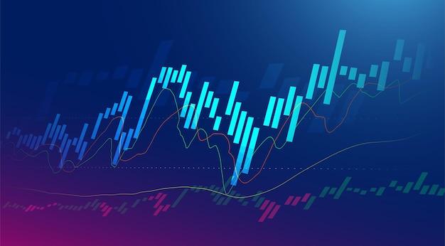 Business-kerze-stick-diagramm des börseninvestitionshandels auf blauem hintergrund. bullischer punkt, aufwärtstrend des diagramms. wirtschaftliches vektordesign.