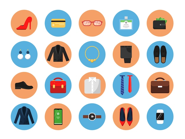 Business kleiderschrank symbole. office-stil kleidung für männer und frauen arbeiten lässig mode rock anzug jacke hut tasche farbige symbole